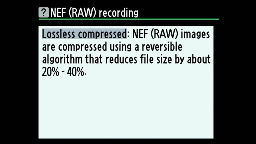 Raw lossless compressed