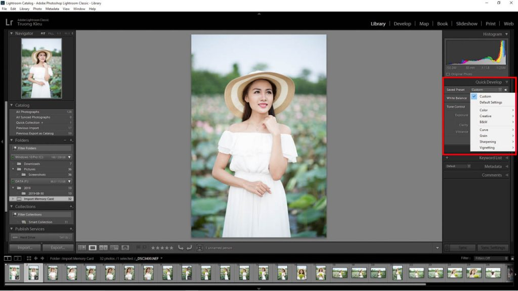 Quick Develop trong Lightroom